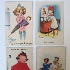 Postales: LOTE POSTALES HUMORÍSTICOS INFANTILES AÑOS 40 . Lote 97809611