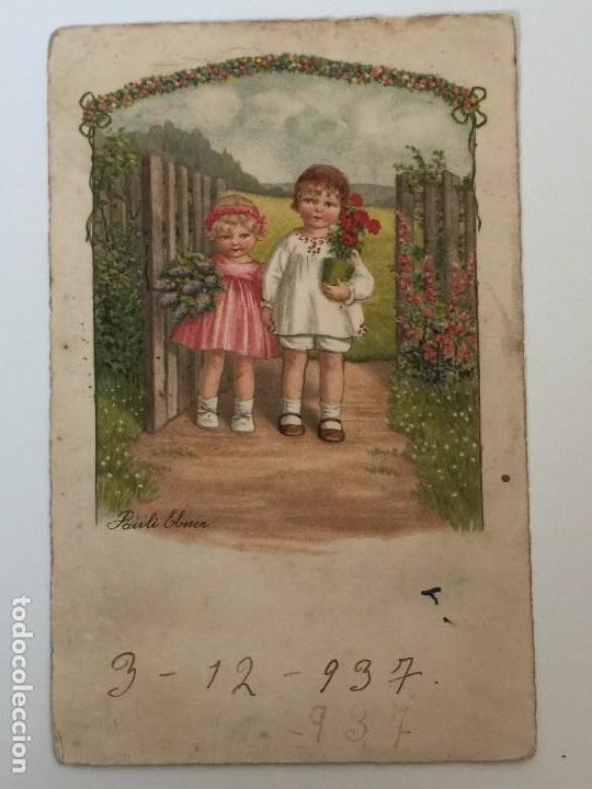 POSTAL AÑO 1937 INFANTIL CON SELLO CENSURA (REPUBLICA ESPAÑOLA) DIBUJO PAULI EBNER (Postales - Dibujos y Caricaturas)
