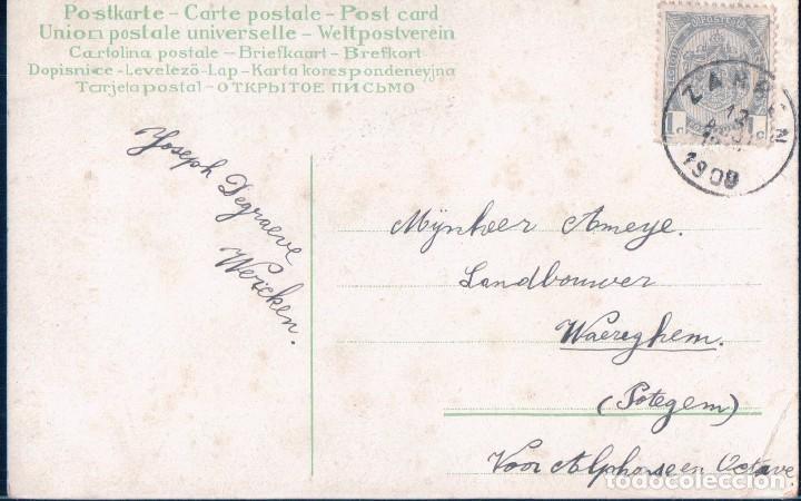 Postales: POSTAL DIBUJO ROSA AMARILLA - CIRCULADA1908 - Foto 2 - 98583131