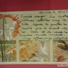 Postales: ANTIGUA POSTAL CON BELLA ILUSTRACION DE DAMA MODERNISTA. AÑO 1903. Lote 99700435
