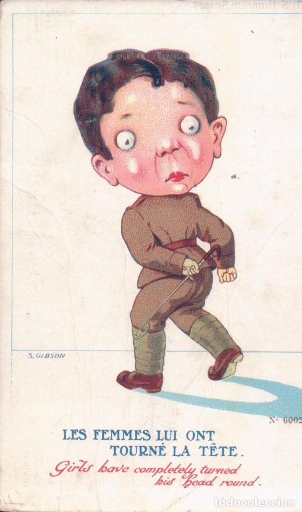 POSTAL DIBUJO CARICATURA NIÑO SOLDADO - FIRMADA S GIBSON . N 6002 HUMOR SERIES (Postales - Dibujos y Caricaturas)