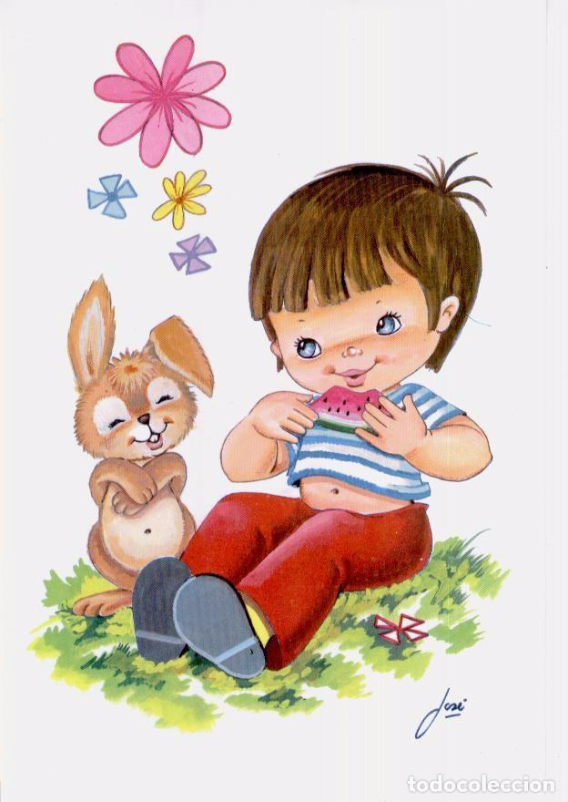 Postal Ilustracion Niño Comiendo Sandia Comprar Postales Antiguas