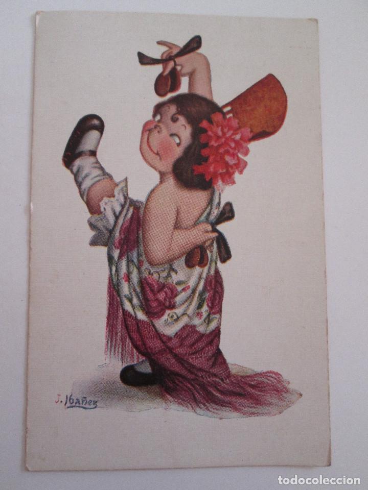 POSTAL DIBUJO - J. IBAÑEZ - BAILARINA - NUM 410 - EDICIONES VICTORIA - FECHADA 1923 - ESCRITA (Postales - Dibujos y Caricaturas)