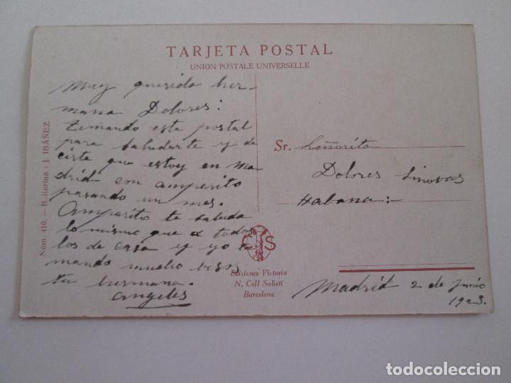 Postales: POSTAL DIBUJO - J. IBAÑEZ - BAILARINA - NUM 410 - EDICIONES VICTORIA - FECHADA 1923 - ESCRITA - Foto 2 - 100737451