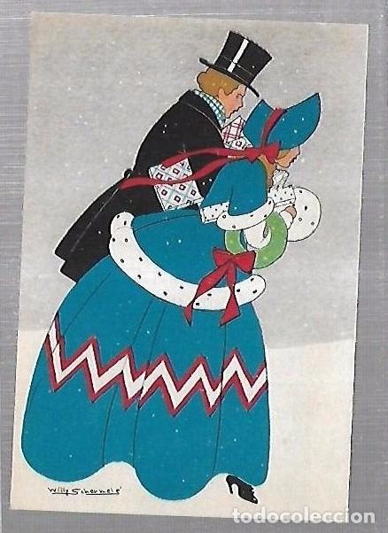 Tarjeta Postal Dibujo De Pareja De Enamorados Editor Willy Schermele