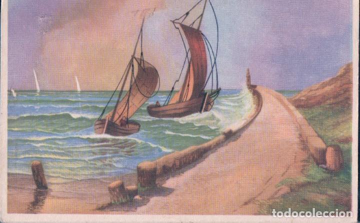 Postal Dibujo Barcos En La Costa Faro Olas Comprar Postales