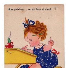 Postales: POSTAL LAS PALABRAS SE LAS LLEVA EL VIENTO - AÑOS 40. . Lote 103534987