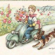 Postales: MOTO VESPA LAMBRETTA POSTAL DIBUJO CARICATURA NIÑOS ILUSTRADA ED FREIXAS SERIE 311. Lote 103688371