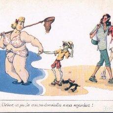 Postales: POSTAL DIBUJO CARICATURA HUMOR - MUJER EN LA PLAYA - FIRMADA TO - SERIE BAIGNEUSES - PHOTOCHROM. Lote 104430999