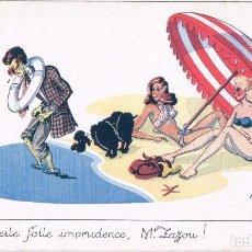 Postales: POSTAL DIBUJO CARICATURA HUMOR - EN LA PLAYA - FIRMADA TO - SERIE BAIGNEUSES - PHOTOCHROM. Lote 104431075