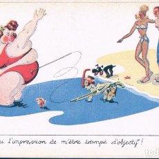 Postales: POSTAL DIBUJO CARICATURA HUMOR - EN LA PLAYA - FIRMADA TO - SERIE BAIGNEUSES - PHOTOCHROM. Lote 104431131