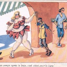 Postales: POSTAL DIBUJO CARICATURA HUMOR - EN LA PLAYA - FIRMADA TO - SERIE BAIGNEUSES - PHOTOCHROM. Lote 104431251