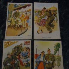 Postales: 4 POSTALES CARICATURA DE SOLDADOS. ILUSTRADOR OPISSO.. Lote 107438387
