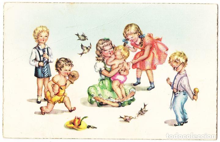 Niñas Y Niños Jugando Comprar Postales Antiguas De Dibujos Y