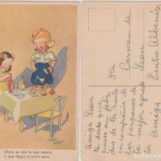 Postales: POSTAL DE 2 NIÑAS, CIRCULADA EN 1947, SIN FRANQUEO.. Lote 108748803