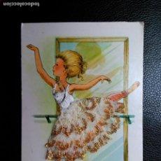 Postales: POSTAL BORDADA Y DECORADA CON ENCAJE. ILUSTRADA POR MARY MAY. BAILARINA. CIRCULADA. Lote 109370923