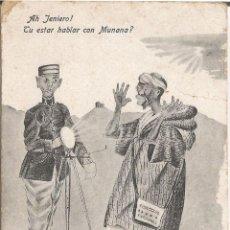 Postales: ILUSTRADOR: J.OLMOS, JANIERO HABLA CON MUNANA - EDICION BOIX HERMANOS, MELILLA - ESCRITA . Lote 110541391