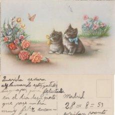 Postales: POSTAL DOS GATITOS 1953.. Lote 111632107