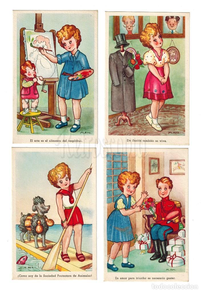 LOTE 4 POSTALES ILUSTRADAS POR M. ARA SERIE 1550 PABLO DÜMMATZEN BARCELONA POSTAL AÑOS 50 (Postales - Dibujos y Caricaturas)