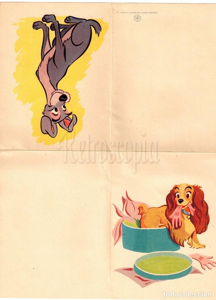 POSTAL DESPLEGABLE CUARTILLA PARA ESCRIBIR. GGG. LA DAMA Y EL VAGABUNDO WALT DISNEY AÑO 1956 (Postales - Dibujos y Caricaturas)