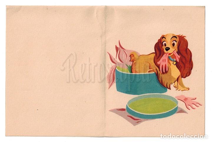 Postales: POSTAL DESPLEGABLE CUARTILLA PARA ESCRIBIR. GGG. LA DAMA Y EL VAGABUNDO WALT DISNEY AÑO 1956 - Foto 3 - 114128815