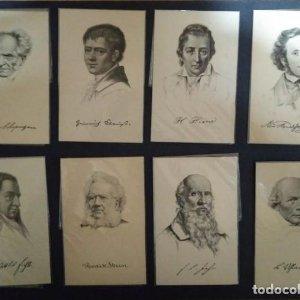 Colección 29 postales personajes históricos Shakespeare, Darwin, Tolstoi, etc SIN CIRCULAR