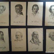 Postales: PERSONAJES HISTÓRICOS. COLECCIÓN DE 29 POSTALES ANTIGUAS. SHAKESPEARE, DARWIN, TOLSTOI..SIN CIRCULAR. Lote 114492383