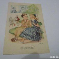 Postales: POSTAL AÑO 1949 - JOVENES DIBUJO GIRONA - EDICIONES ARTE SERIE 134. Lote 114970975