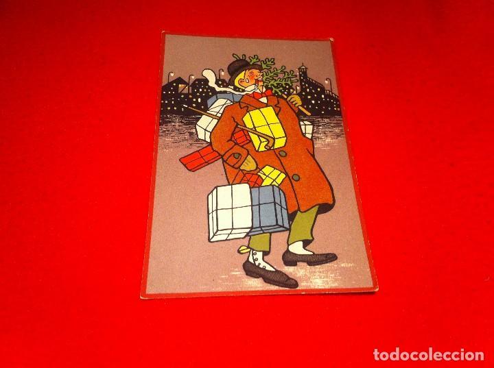 Postal Señor Con Regalos Y árbol Caricatura D Kaufen Alte
