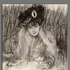 Postales: POSTAL ILUSTRADA POR RAMON CASAS. SALUT Y BON ANY NOU. MUJER. (LB. BARTRINA - THOMAS) 1902. . Lote 116078703