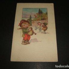 Postales: POSTAL GAITERO Y NIÑOS BAILANDO ILUSTRADA. Lote 116151207