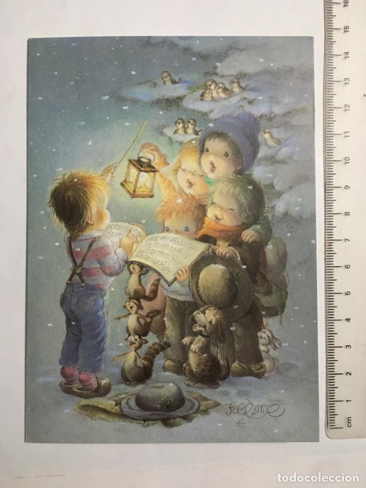 FELICITACIÓN NAVIDAD. DIPTICO. ILUSTRACIÓN FERRANDIZ. H. 1970? (Postales - Dibujos y Caricaturas)