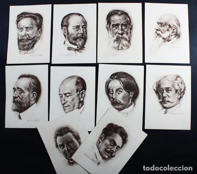 LOTE 10 POSTALES DE MUSICOS ESPAÑOLES SERIE 1 CARMONA EDITOR, GRANADOS FALLA CHAPI BRETON VIVES... (Postales - Dibujos y Caricaturas)