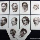 Postales: LOTE 10 POSTALES DE MUSICOS ESPAÑOLES SERIE 1 CARMONA EDITOR, GRANADOS FALLA CHAPI BRETON VIVES... . Lote 118009567