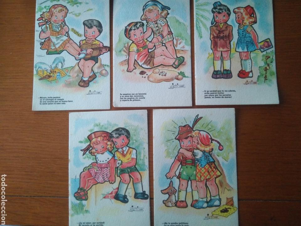 5 POSTALES SIN USO AÑOS 40 COLECCIÓN- ESTAMPERIA RAM SERIE 34- ILUSTRA JULI (Postales - Dibujos y Caricaturas)