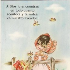 Postales: -55798 POSTAL DIBUJO NIÑA CON PAJAROS Y FLORES, CON MENSAJE, ILUSTRACION SARA. Lote 120608687