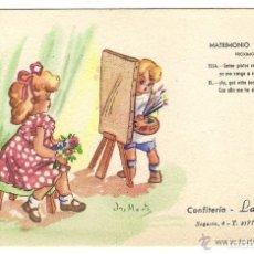 Postales: -63000 POSTAL DIBUJO MATRIMONIO INFANTIL, NIÑAS PINTORAS, ILUSTRACION ANA MARIA, CONFITERIA LA FLORI. Lote 123323559