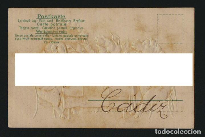 Postales: Postál ilustrada.Cerditos en relieve.Circulada en 1904. - Foto 2 - 124892331