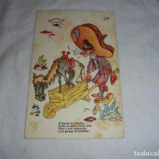Postales: EL COYOTE EN CARRETON HECHO UN POBRE TRASTO VIEJO.ILUSTRA ARNALOT.ESTAMPERIA RAM. Lote 126104187