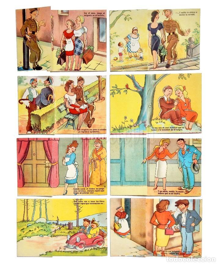 LOTE 8 TARJETAS POSTALES CÓMICAS SORPRESA DESPLEGABLES. ESTAMPERIA RAM BARCELONA. AÑOS 50 - 60 (Postales - Dibujos y Caricaturas)