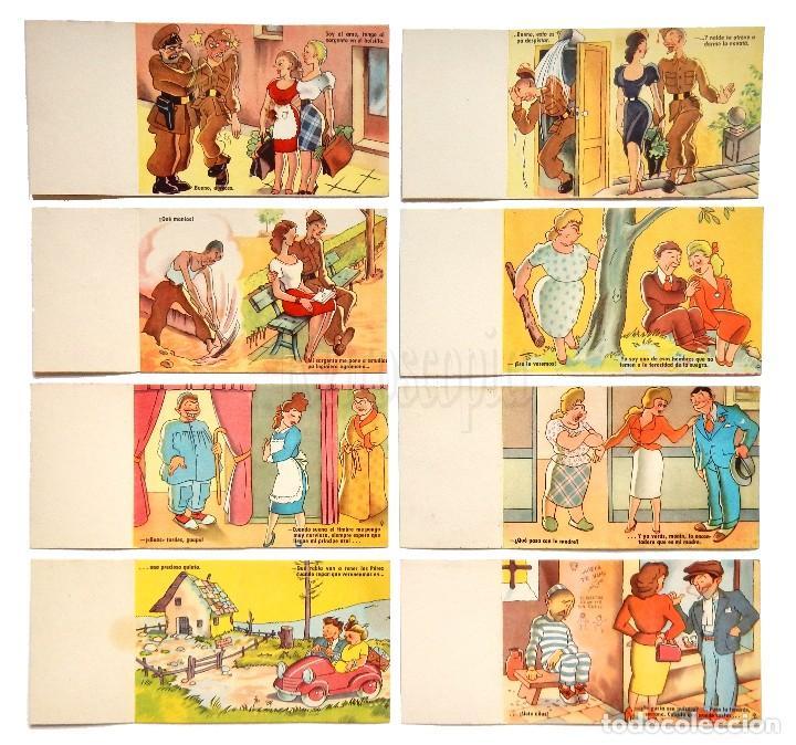 Postales: LOTE 8 TARJETAS POSTALES CÓMICAS SORPRESA DESPLEGABLES. ESTAMPERIA RAM BARCELONA. AÑOS 50 - 60 - Foto 2 - 127875947