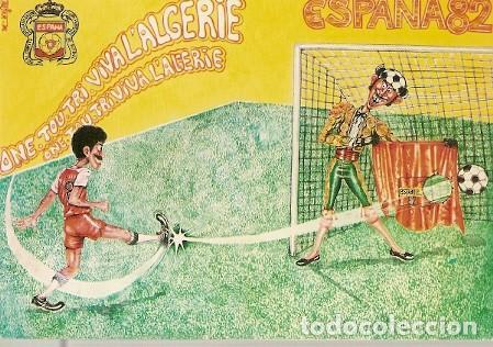 ARGELIA ** & POSTAL, CAMPIONATO DEL MUNDO DE FÚTBOL, ESPAÑA 1982, VIVA ARGELIA, MUSTAPHA TADJER (98) (Postales - Dibujos y Caricaturas)