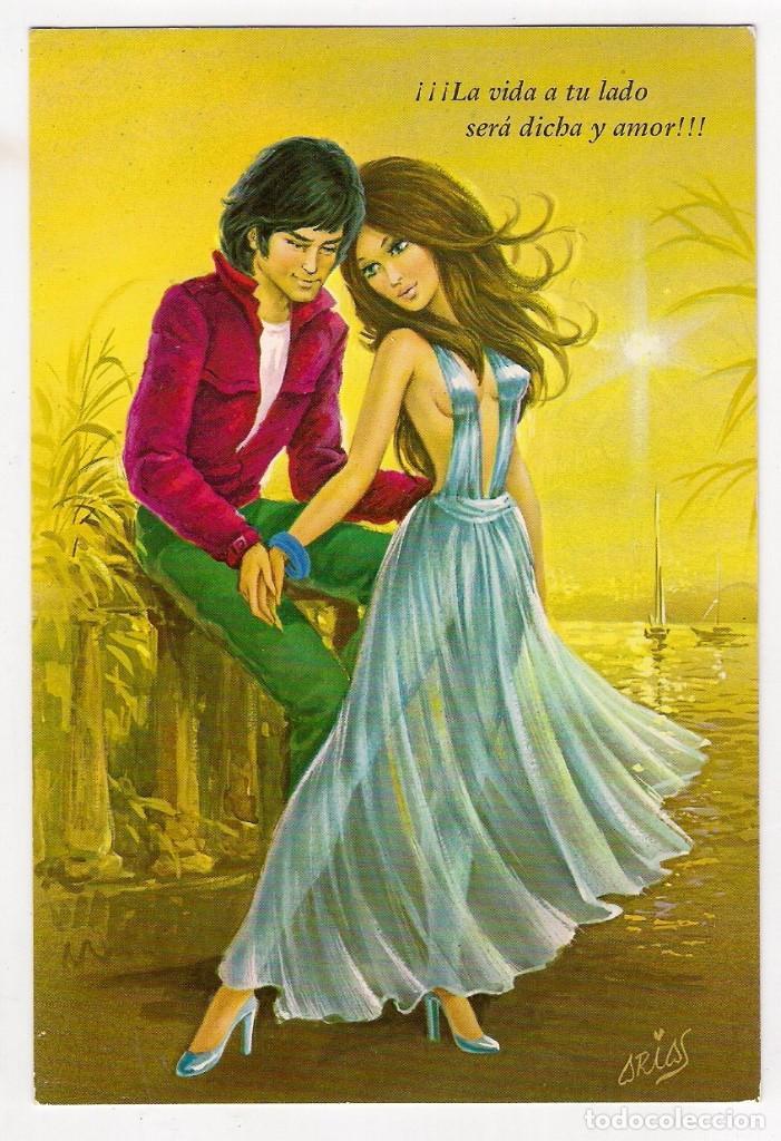 72001 Postal Dibujo Hombre Y Mujer Enamorados Comprar Postales