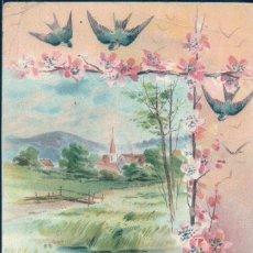 Postales: POSTAL DIBUJO - SERIE 401 - CIRCULADA 1910 - PAISAJE - GOLONDRINAS - RIO. Lote 130116315