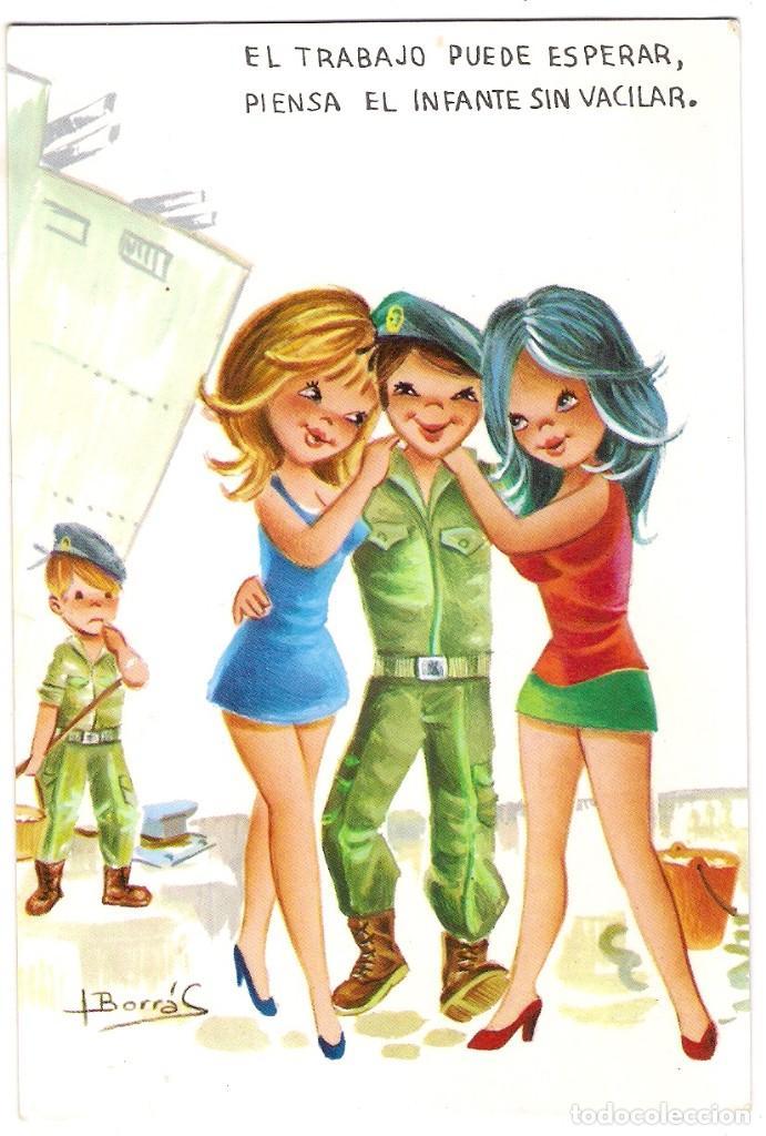 -72051 POSTAL DIBUJO CHICAS ENAMORADAS DE MARINEROS, ILUSTRACION BORRAS, VIKINGO Nº 2184/1 (Postales - Dibujos y Caricaturas)