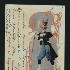 Postales: POSTAL ILUSTRADA CARICATURESCA.CIRCULADA EN 1902.. Lote 131284415