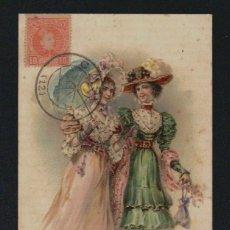 Postales: POSTAL ILUSTRADA.SEÑORITAS .CIRCULADA EN 1903.. Lote 131357254