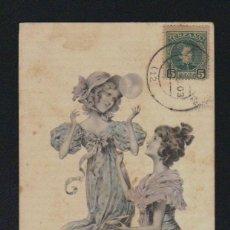 Postales: POSTAL ILUSTRADA. SEÑORITAS. CIRCULADA EN 1903.. Lote 131359298