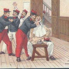 Postales: POSTAL LE PERRUQUIER - ATTENTION AUX COUPURES! - M H PARIS -MILITARES LA PELUCA ATENCIÓN LOS CORTES!. Lote 131629194