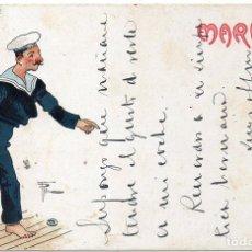 Postales: PS8006 POSTAL CON CARICATURA DE LA MARINA (SERIE A Nº 2). CIRCULADA. 1904. Lote 133174402